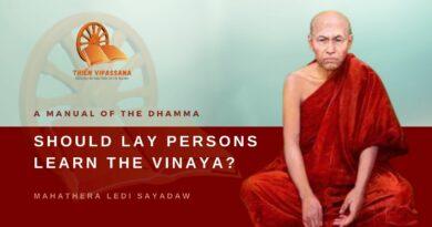 A MANUAL OF THE DHAMMA - SHOULD LAY PERSONS LEARN THE VINAYA? - LEDI SAYADAW